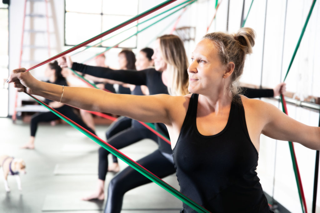 resistance band workout class in park city