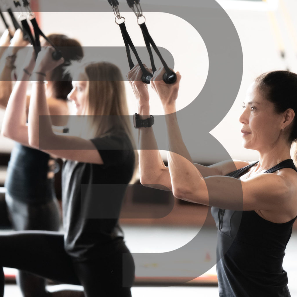 women using BOARD30 skybands to workout at BOARD30 studio