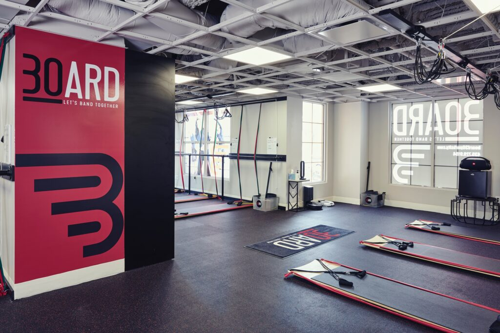 BOARD30 park city studio clean and awaiting clients to return safely to the gym